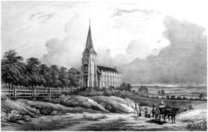 Bexley Heath's Anglican Chapel of Ease, 1850s. Next to it men are working in the gravel pit